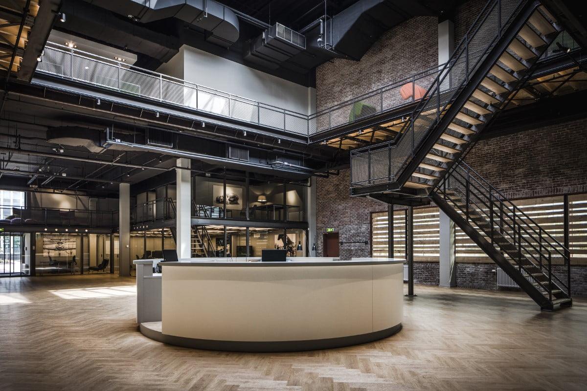 Interieurfoto kantoor Amsterdam - van de receptie / ontvangsthal van Inwork