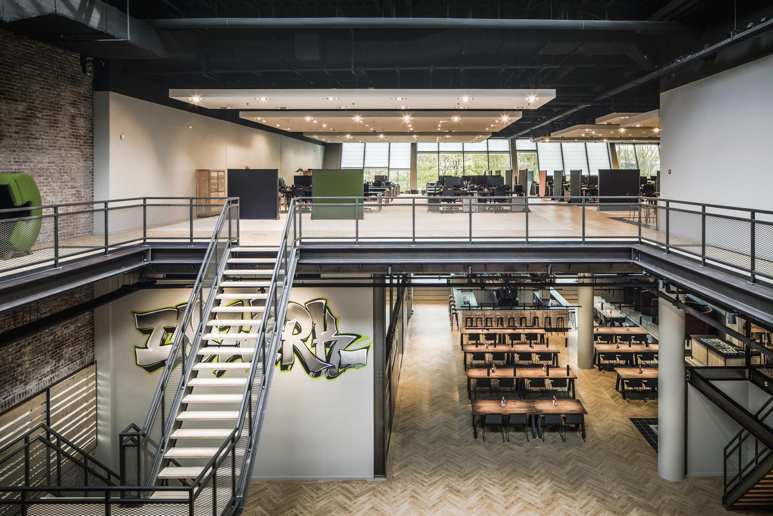 Interieurfoto kantoor Amsterdam - van de opengewerkte verdiepingsvloer ten behoeve van daglichttoetreding voor Inwork
